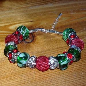 Red, Green, and White Beaded Silver Bracelet